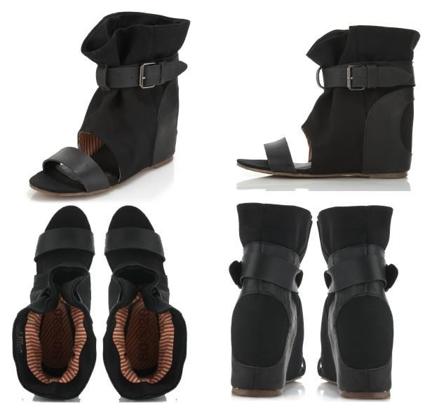 Canvas open toe sandal. Leather detailing with adjustable buckle.
