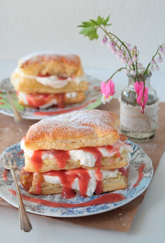 Rhubarb Strawberry Napoleons with Rhubarb Coulis