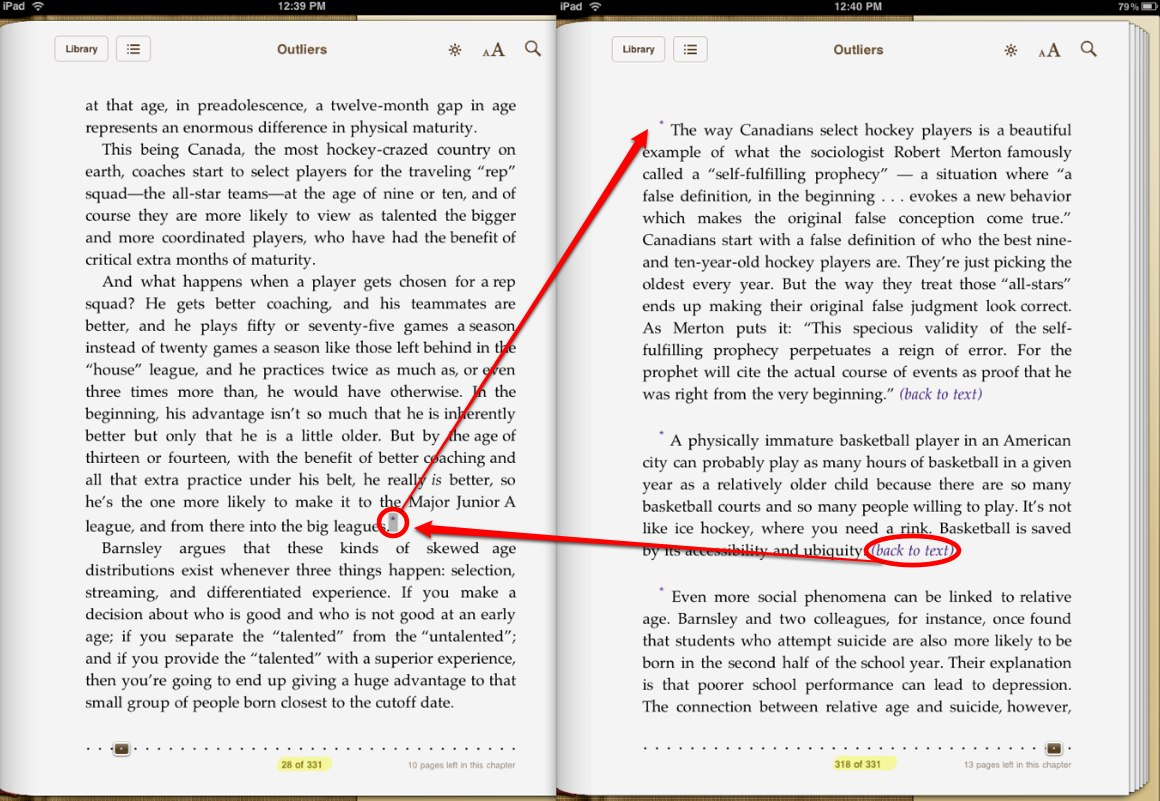 Outliers Endnotes on iPad