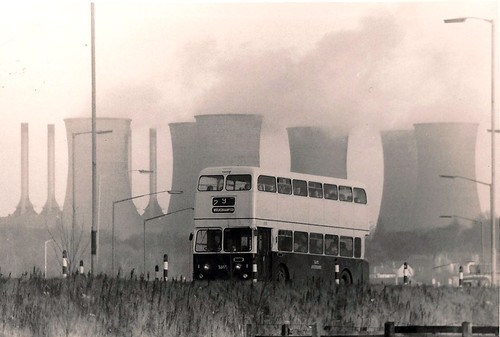 Walsall Power Station cooling towers seen from junction 10 (M6) plus an ex Kingston Upon Hull Atlantean 1975