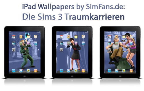 SimsFans.de - three Sims 3 Ambitions wallpapers for iPad