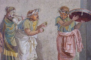 Roman mosaic depicting a comedy scene from the...