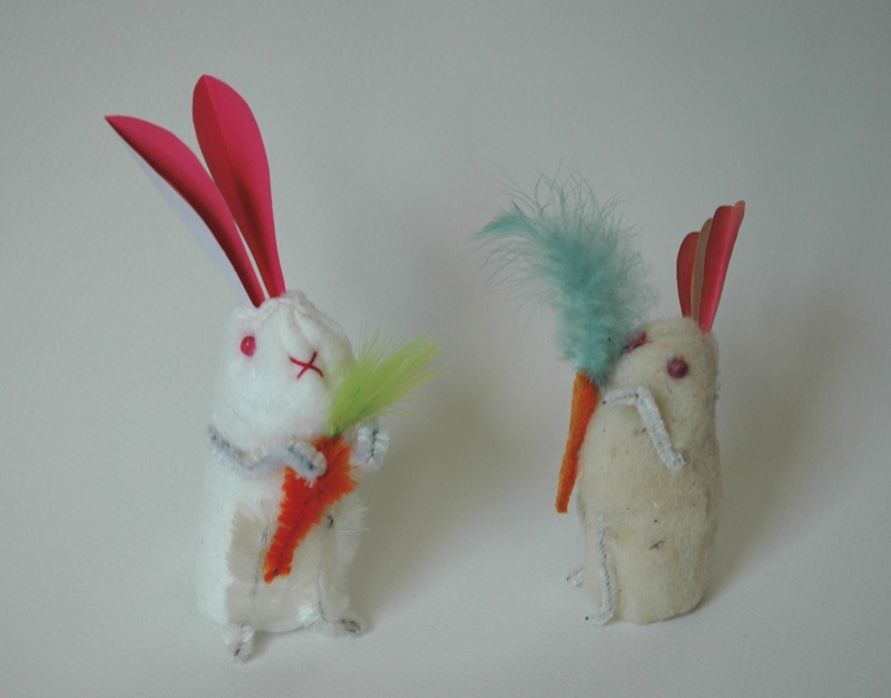 Cotton Batting Bunnies, new and old