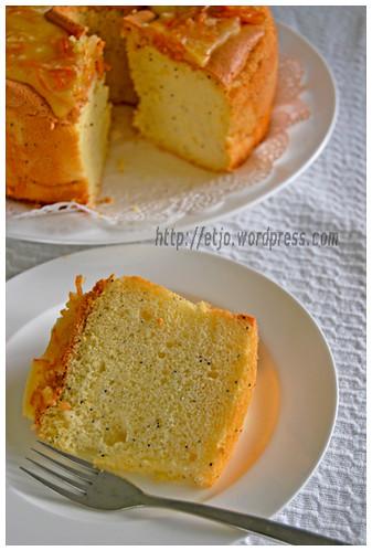 Slice and bundt of CFGF Orange Chiffon Cake