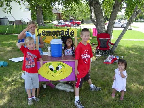 Lemonade Sales on the Vivid Image Front Lawn