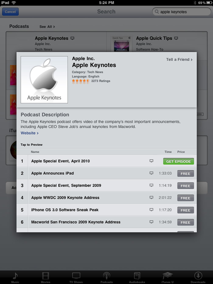 Apple Keynote Podcast for iPad