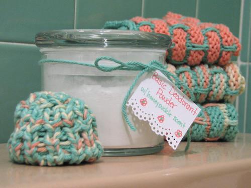 Homemade body powder with loom-knit applicator