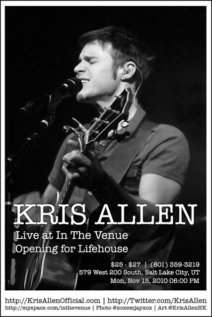 Kris Allen Promo Art – In The Venue, Salt Lake City, UT