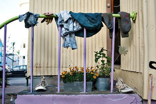 clothes hanging to dry, and flowers