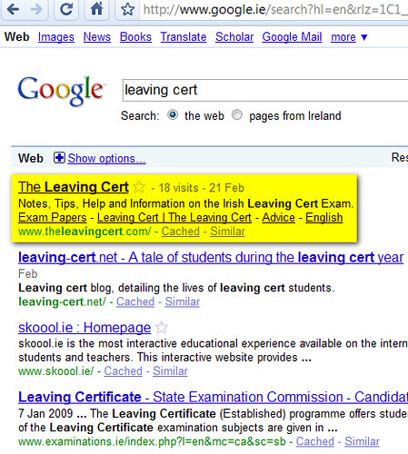 leaving cert google