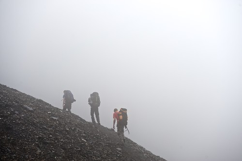 Hikers trek through a heavy fog.