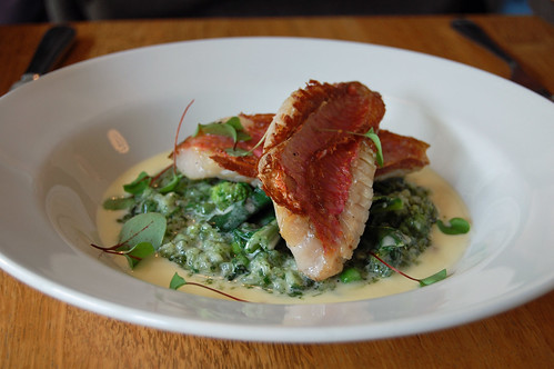 Grilled Fillets of Red Mullet, Wild Garlic and Crayfish Risotto, Buttered Local Sea Kale