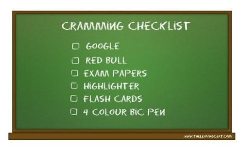 cramming checklist