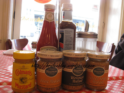 condiments - mustards, ketchup and HP sauce