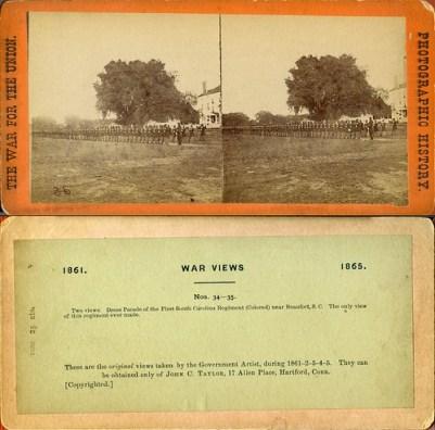 "Civil War. First Black Regiment, South Carolina 1st, Massachusetts 54th.  ""Glory Regiment"""