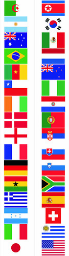 flags from the 2010 world cup (pegate con tu equipo!)