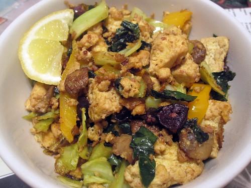 olive, lemon veggie scramble