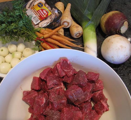 Beef Stew Mise en Place