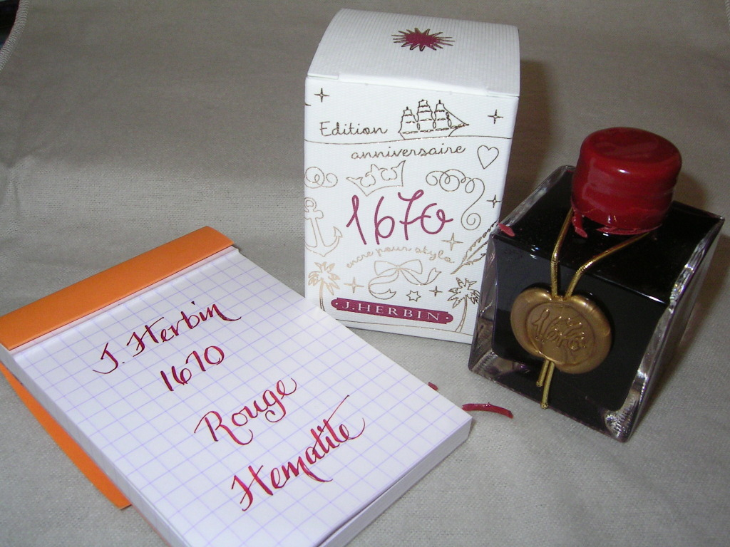 J. Herbin 1670 Rouge Hematite with Rhodia Grid Notebook
