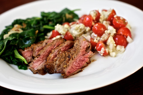 Grilled Balsamic Skirt Steak with Sauteed Baby Spinach and Tomato-Vidalia-Blue Cheese Salad
