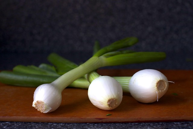 spring onions, rainy day