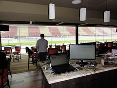 The view from my station at our @MISpeedway suite for the @progautoxp