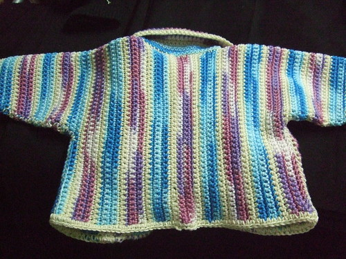 back of vertically striped baby jacket