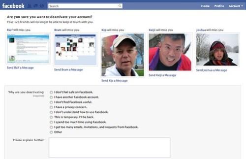 Facebook: Deactivate my account