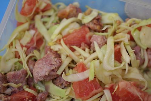 Cabbage, Bacon, Grapefuit Salad