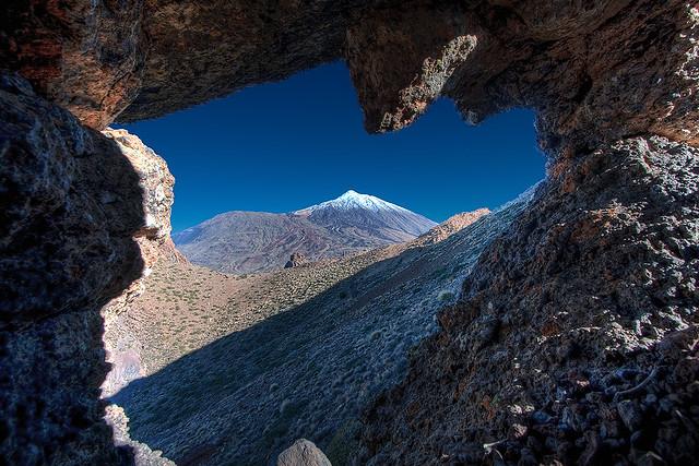 Mt. Teide through rock archway