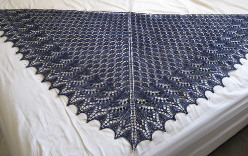 Swallowtail Shawl - blocking