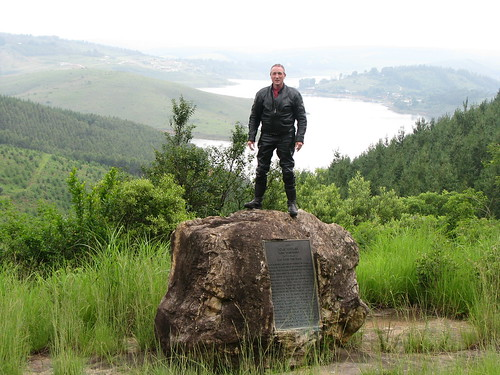 James Holloway with a monument to John Buchan
