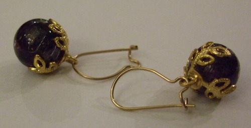 Vintage Earrings Crown Baubles Purple small