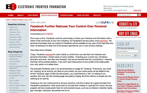 3 Strikes & You're .... Out!: EFF on Facebook Privacy Policies