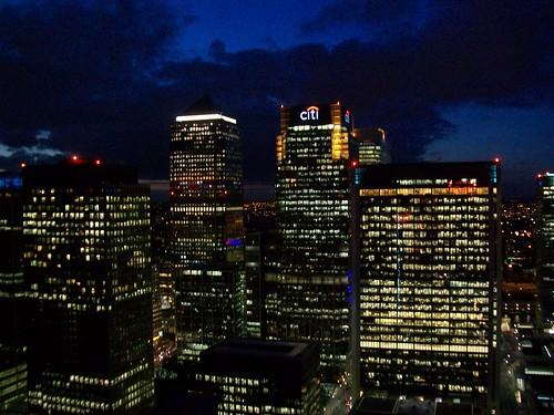 Nightfall at Canary Wharf