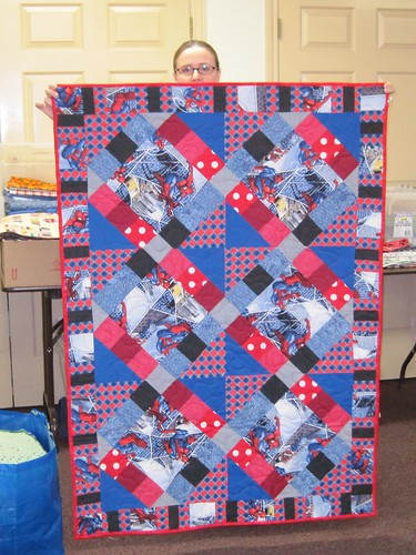 Spiderman quilt made and donated by Marissa