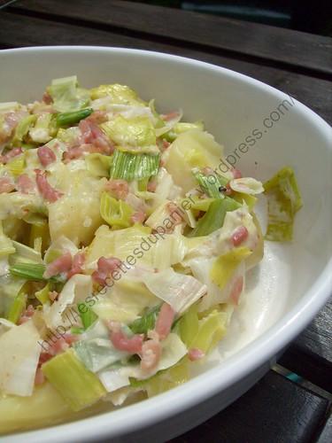 Pommes de terre avec coulis de poireaux au mascaporne / Potatoes with leek and mascarpone coulis