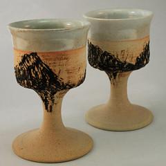 'RJ' (?). Pair of goblets