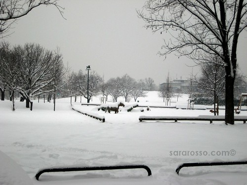 A playground under snow, Milan, Italy, December 22, 2009