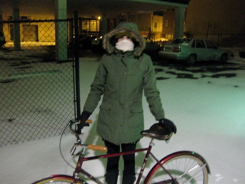 biking through the snow
