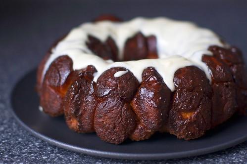 monkey bread + cream cheese glaze