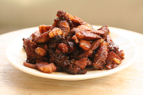 Stir fried roast pork with soya sauce