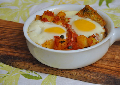Eggs in Purgatory with Artichoke Hearts, Potatoes and Capers