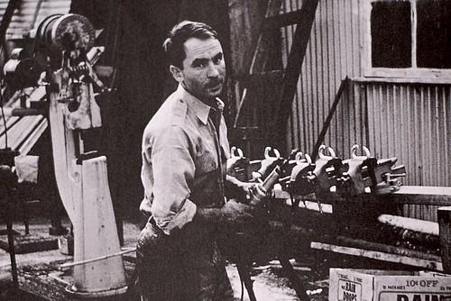 Yvon Chouinard working in his shop in Burbank, 1965 [IMG_2765]