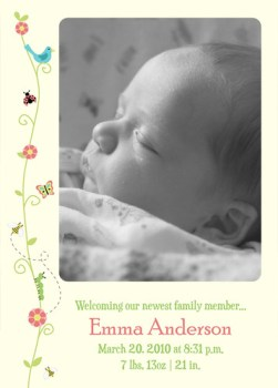 vines birth announcement - yellow