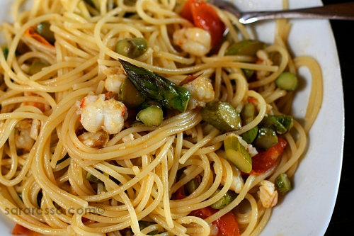Spiny Lobster Tail with Asparagus Pasta Recipe