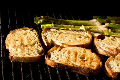 grilling bread & scallions