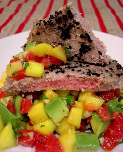Ahi tuna with salsa