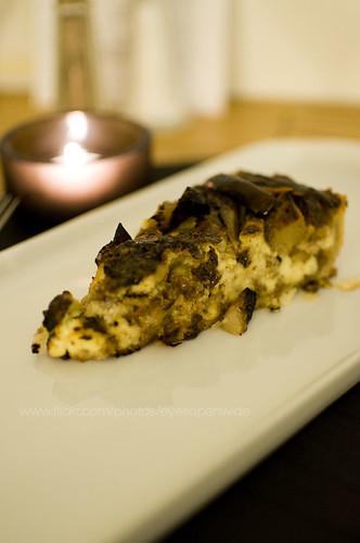 duck confit tart with gorgonzola, anjou pear and walnut
