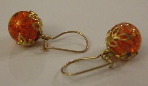 Vintage Earrings Crown Baubles Orange small